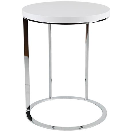 Julia Chrome White Top Round Side Table