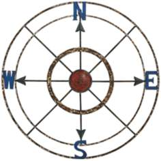 "Frontera 28"" Round Rustic Metal Compass Wall Decor"