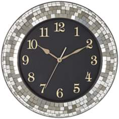 "Silver Glass Mosaic 18"" Round Wall Clock"