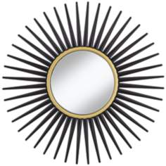 "Hathor Black Sunburst 34"" Round Wall Mirror"