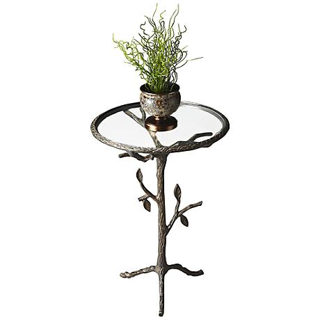 Metalwork's Tree Trunk Glass Accent Table