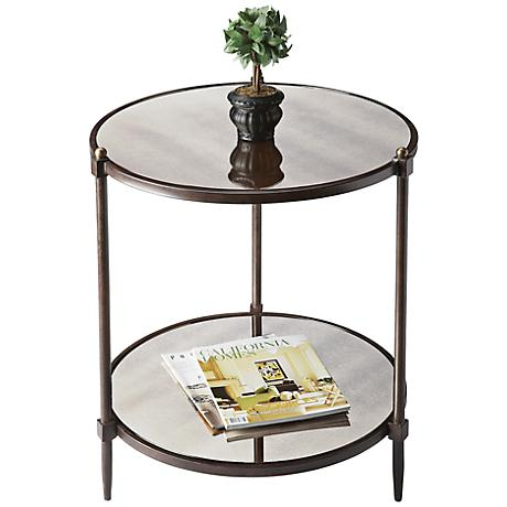 Metalworks Pewter And Gold Side Table