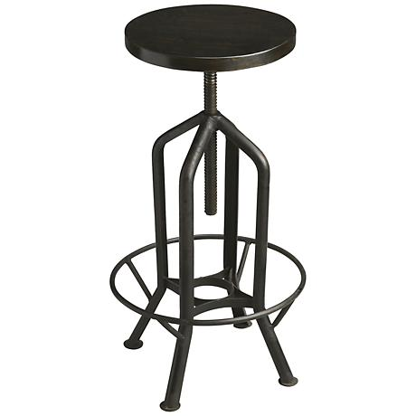 Metalworks Revolving Distressed Iron Adjustable Barstool