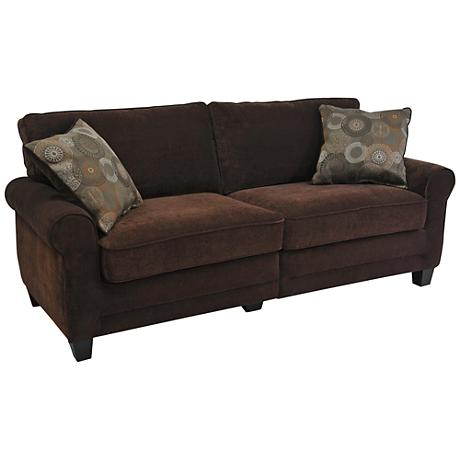 Serta Trinidad Chocolate Fabric Deluxe Sofa