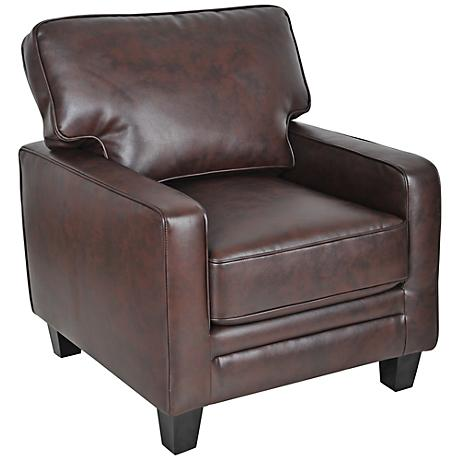 Serta Monaco Biscuit Bonded Leather Track Arm Accent Chair