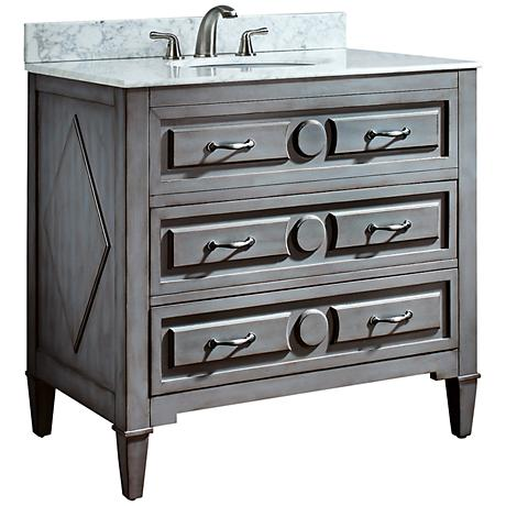 "Avanity Kelly 36"" Carrera White Marble Sink Vanity"