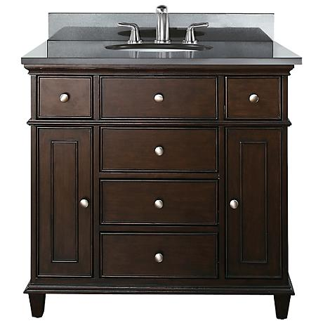 "Avanity Windsor 36"" Wide Black Granite Sink Vanity"