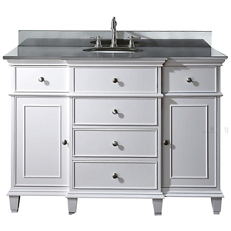 "Avanity Windsor 48"" Wide Black Granite White Sink Vanity"