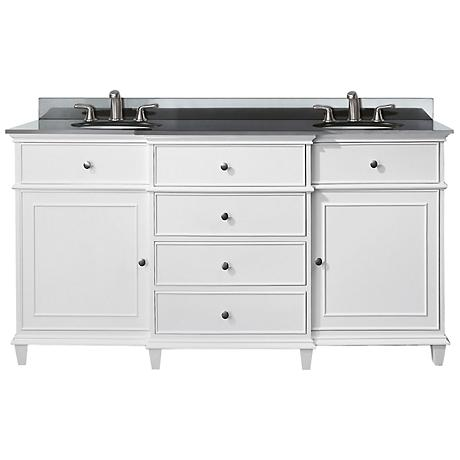 "Avanity Windsor 60"" Black Granite White Dual Sink Vanity"