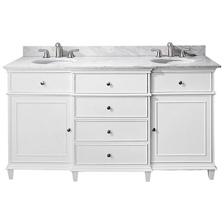 "Avanity Windsor 60"" Wide White Dual Sink Vanity"