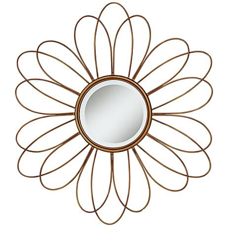 "Melina Double Daisy Flower 38 1/2"" Round Wall Mirror"
