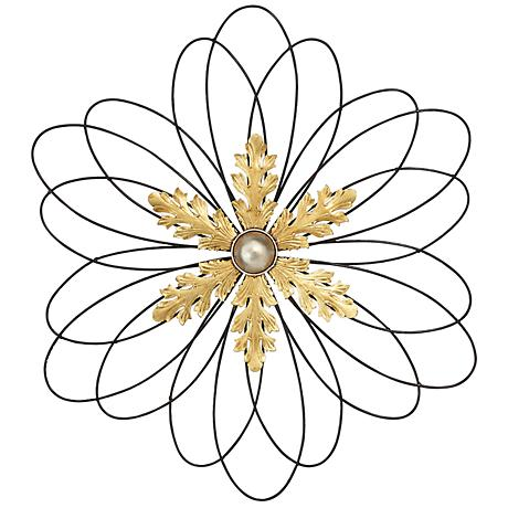 "Gold Metal Snowflake 30"" Round Wall Art"