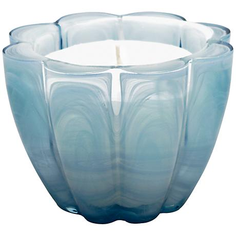 Scallop Art Glass Ice Blue Fragranced Candle