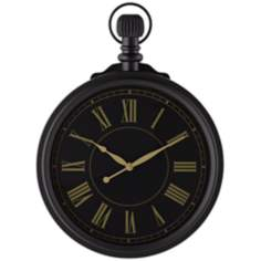 "Palmer Black Metal Pocket Watch 15"" Round Wall Clock"