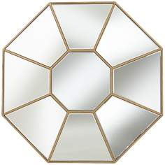 "Gold Orb 33"" Round Wall Mirror"