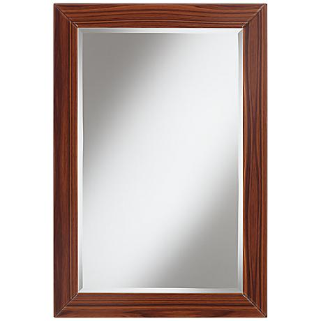 "Belleview Wood Grain Glass Frame 22"" x 32"" Wall Mirror"