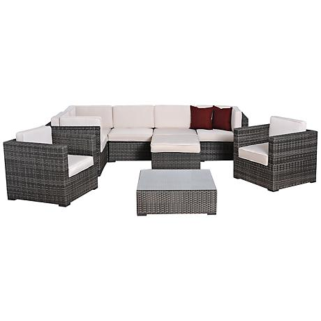 Atlantic 9-Pc Southampton Gray and White Wicker Patio Set