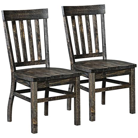 Bellamy Deep Weathered Pine Dining Chair Set of 2