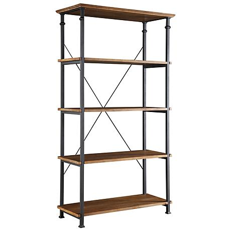 HomeBelle Wagner Natural Pine Wide Bookshelf
