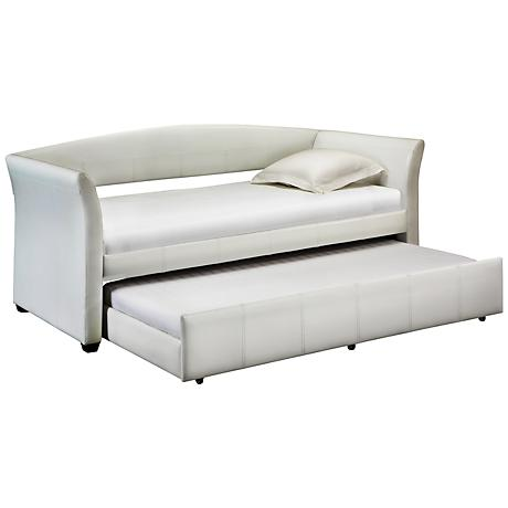 HomeBelle Lauren White Faux Leather Daybed Trundle