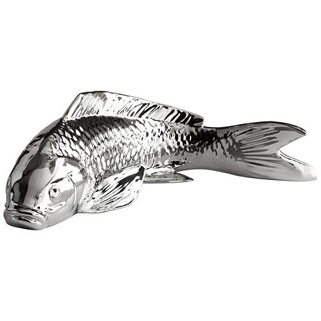 "Swimmingly Sweet 13 1/4"" Wide Koi Chrome Fish Sculpture"