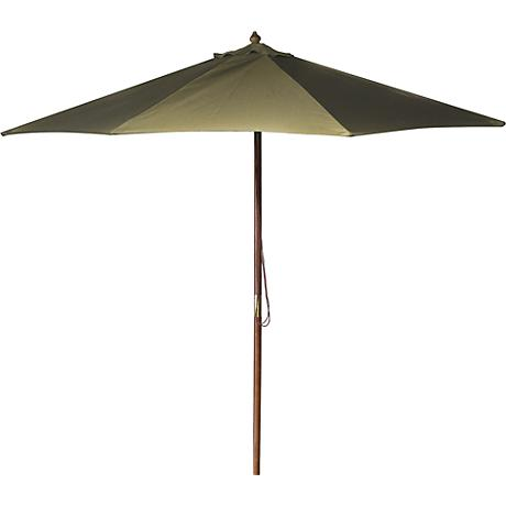 Khaki 9' Round Wooden Market Umbrella
