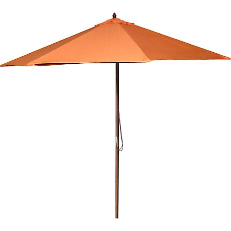 Orange 9' Round Wooden Market Umbrella