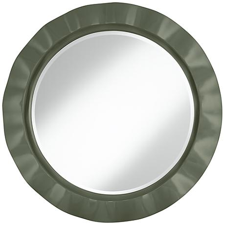 "Deep Lichen Green 32"" Round Brezza Wall Mirror"