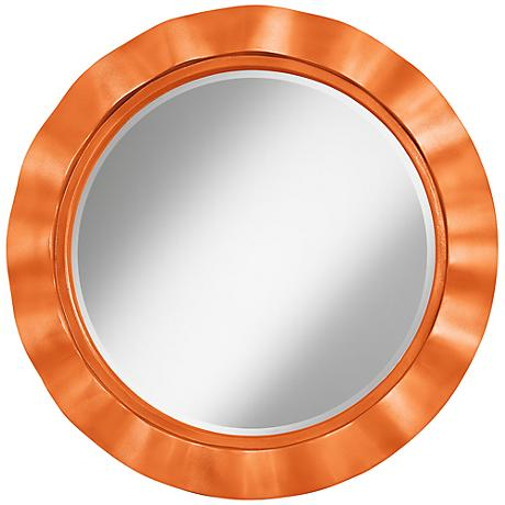 "Burnt Orange Metallic 32"" Round Brezza Wall Mirror"