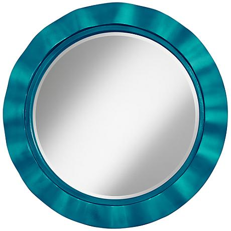"Turquoise Metallic 32"" Round Brezza Wall Mirror"