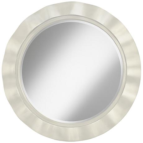 "Vanilla Metallic 32"" Round Brezza Wall Mirror"