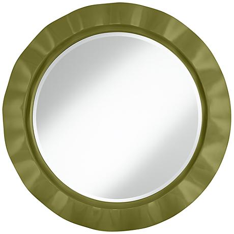"Rural Green 32"" Round Brezza Wall Mirror"