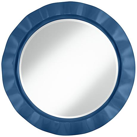 "Regatta Blue 32"" Round Brezza Wall Mirror"
