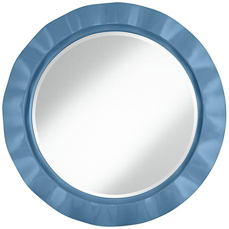 "Secure Blue 32"" Round Brezza Wall Mirror"
