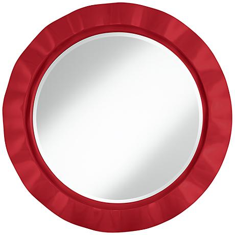 "Ribbon Red 32"" Round Brezza Wall Mirror"