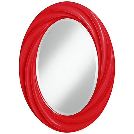 "Bright Red 30"" High Oval Twist Wall Mirror"