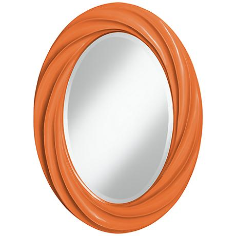 "Celosia Orange 30"" High Oval Twist Wall Mirror"