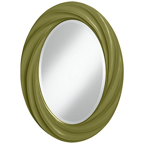 "Rural Green 30"" High Oval Twist Wall Mirror"