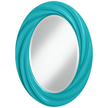 "Surfer Blue 30"" High Oval Twist Wall Mirror"