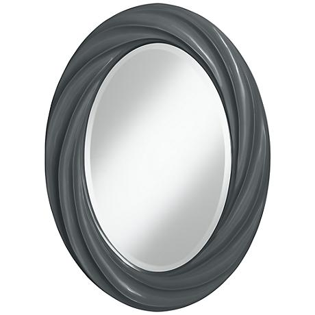 "Black of Night 30"" High Oval Twist Wall Mirror"