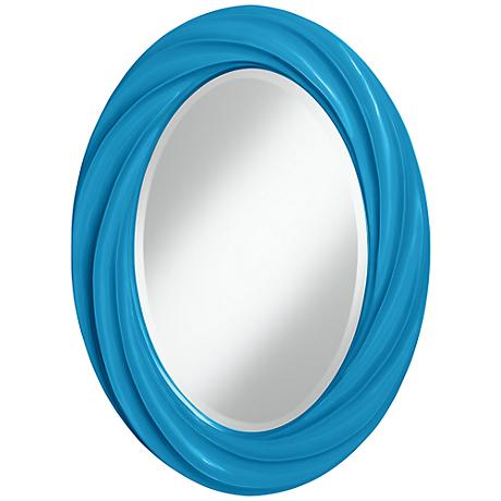 "River Blue 30"" High Oval Twist Wall Mirror"