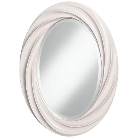 "Smart White 30"" High Oval Twist Wall Mirror"