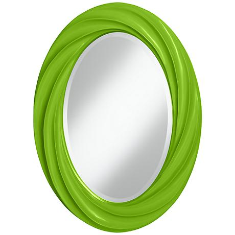 "Neon Green 30"" High Oval Twist Wall Mirror"