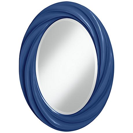 "Monaco Blue 30"" High Oval Twist Wall Mirror"