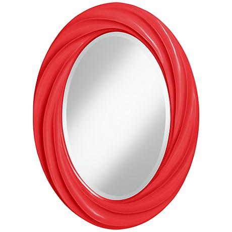 "Poppy Red 30"" High Oval Twist Wall Mirror"
