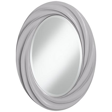 "Swanky Gray 30"" High Oval Twist Wall Mirror"