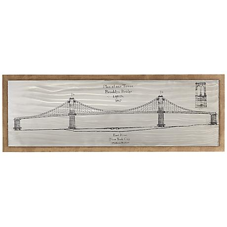 "Brooklyn Bridge Sketch 47 3/4"" Wide Framed Wall Art"