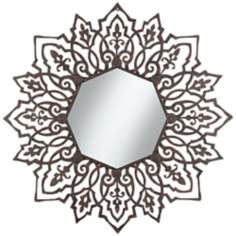 "Clarina Black Metal 37 1/4""x38 Sunburst Wall Mirror"