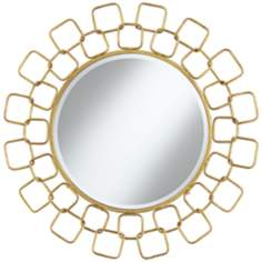 "Carasa Gold Antique 31 1/4"" Round Sunburst Wall Mirror"
