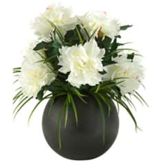 White Peonies in Black Bell Shaped Planter
